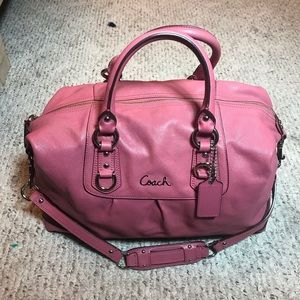 Coach F15447 Ashley Leather Handbag Pink Orchid